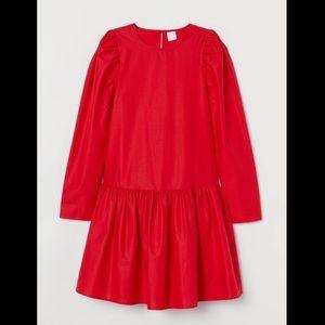 H&M Red Cotton Poplin Dress